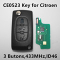 (CE0523 ASK) 3 Buttons Car Remote Key for CITROEN C2 C3 C4 C5 C6 C8 ID46 Chip 433Mhz Keyless Entry VA2/HU83 Blade