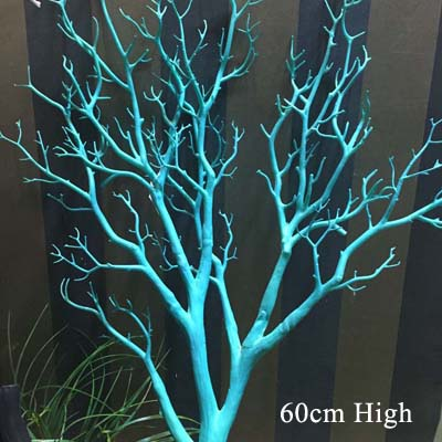 60~ 80 см искусственные Павлин Коралл сушеные ветви деревьев пластиковые искусственные цветы ветка дерева домашняя витрина Свадебные украшения - Цвет: Синий