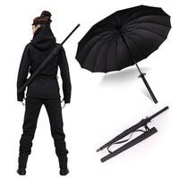 Stylish Black Japanese Samurai Ninja Sword Katana Umbrella Sunny Rainny Long Handle Umbrellas Semi Automatic 8