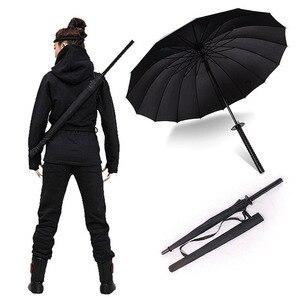Image 1 - أنيق أسود اليابانية الساموراي النينجا السيف كاتانا مظلة مشمس & Rainny طويل مقبض مظلات شبه التلقائي 8 ، 16 أو 24 الأضلاع