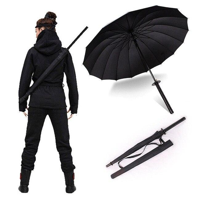 Elegante preto japonês samurai ninja espada katana guarda chuva ensolarado & rainny guarda chuvas de punho longo semiautomático 8, 16 ou 24 costelas