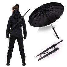 Stijlvolle Zwarte Japanse Samurai Ninja Zwaard Katana Paraplu Sunny & Rainny Lange handvat Paraplu Semi automatische 8, 16 of 24 Ribben
