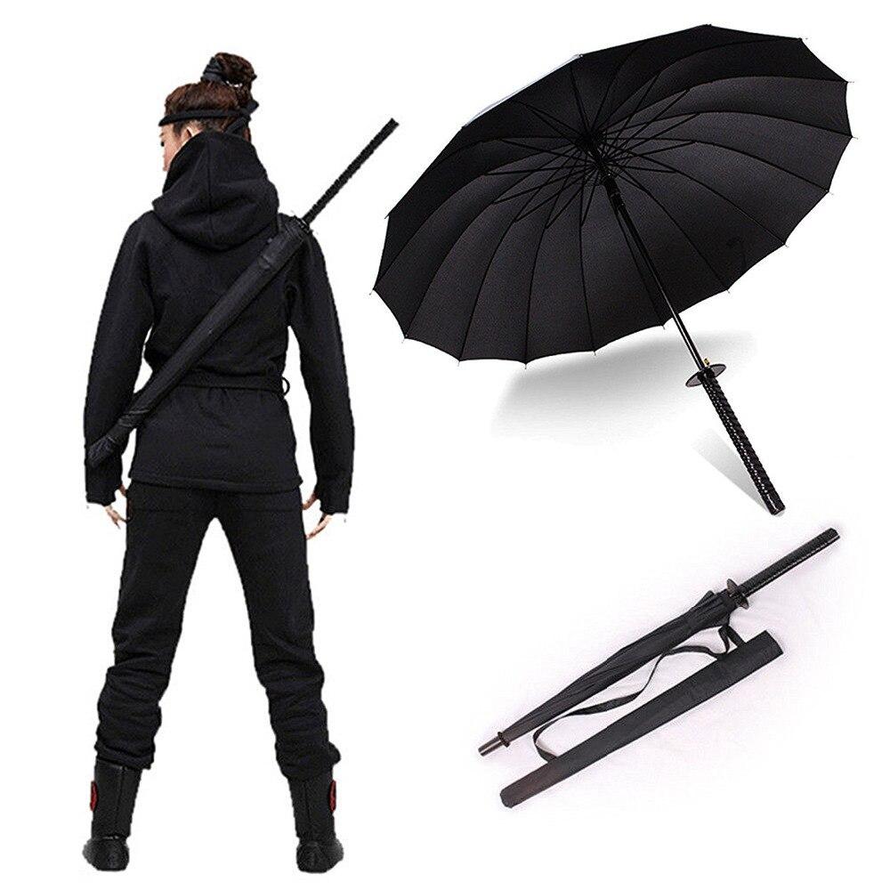 Stilvolle Schwarz Japanischen Samurai Ninja Schwert Katana Sunny & Rainny Lang griff Regenschirme Halbautomatische 8, 16 oder 24 Rippen