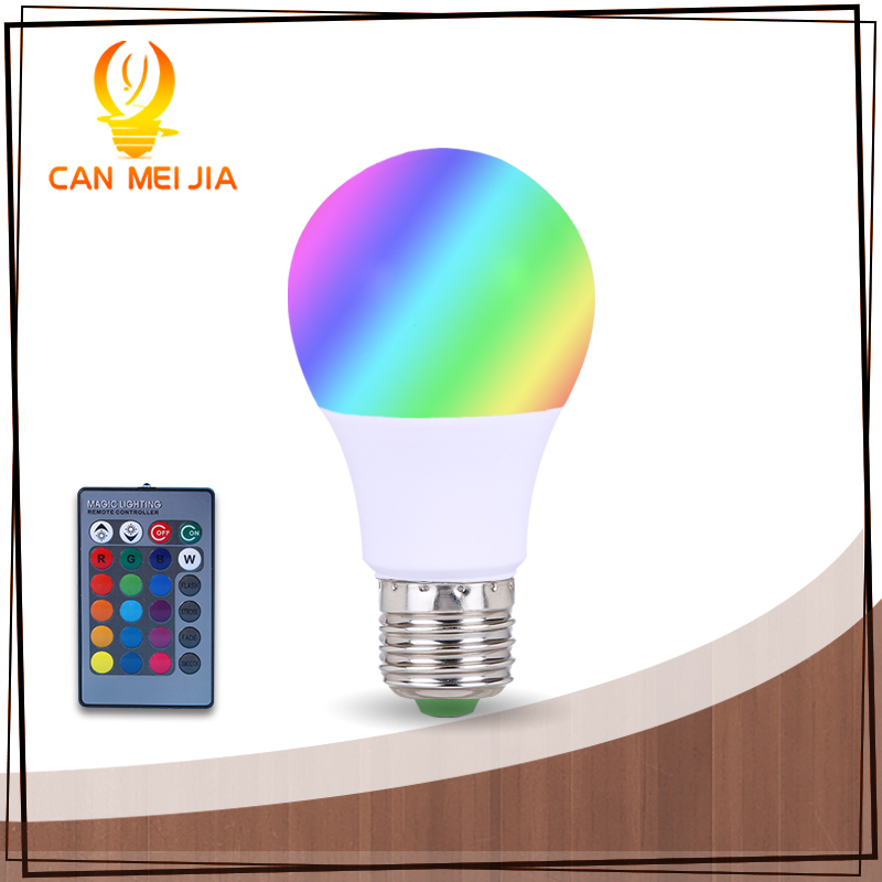 Фото Led E27 RGB Bulb Light Dimmable LEDs Lamp 3W 5W 7W Remote Control 16 Colors Changing 110V 220V Lights for Party Decoration