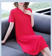 Original Design High-Quality Exquisite Flowerd Dress Sexy V-neck Pure Color Straigh Short Sleeves Summer for Fat Womens