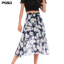 PGSD 2019 New Summer casual Flower printed chiffon thin Beach high waist tie Loose mid-length Skirt female Fashion women clothes