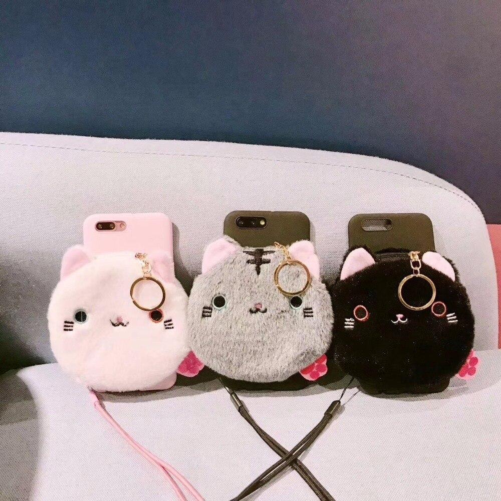 Cat Phone Case for iphone 7 7plus fur cut pink cover winter for iphone 7 7 Plus for iphone 6 6s Plus