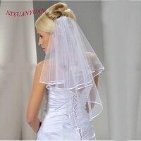 New Elegant  Simple Cheap Short Wedding Veils White/Ivory Two Layer Ribbon Edge Bridal Veils 2017 Wedding Accessories In Stock