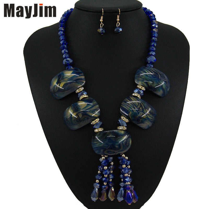 W stylu Vintage niebieski kryształ naszyjnik zestawy biżuterii frędzle Punk duże akrylowe paciorek czechy złoty łańcuch biżuteria dla nowożeńców ustawia kobiety mody
