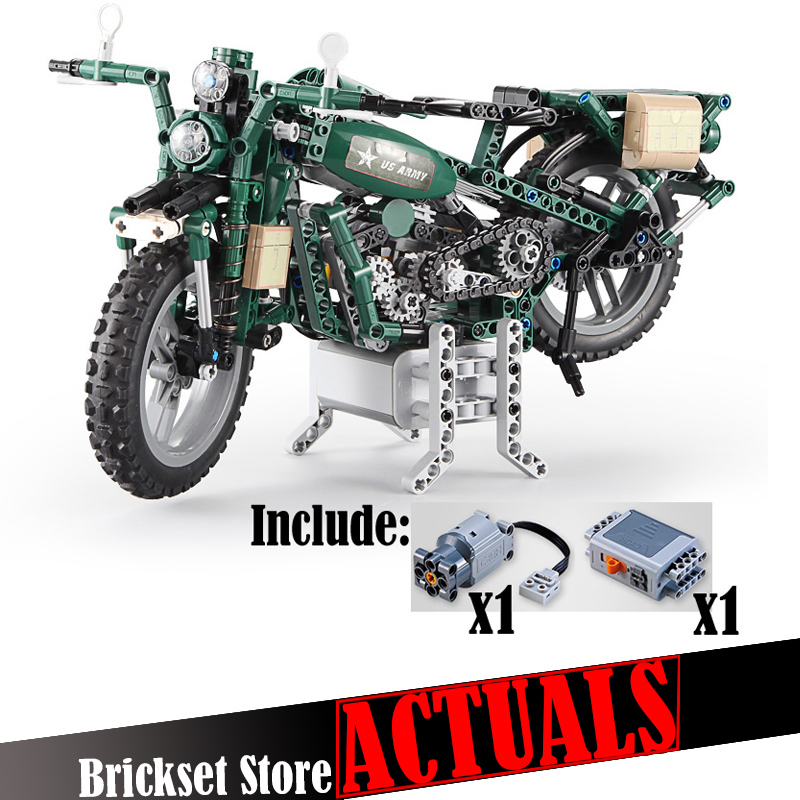 Power Function Military Motorcycle Technic 550pcs Scale Model with Motor Building Block Brick Toys For Kids compatible legoingly audio valve challenger 400 black