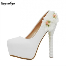 Woman Crystal Pearl High Heels Platform Pumps Nude Thin Heel 14CM Women Wedding Shoes Pumps White Shoes Handmade XY-A0062 handmade women pumps princess shoes pearl rhinestones wedding shoes crystal adult ceremony super high heels xy a0044