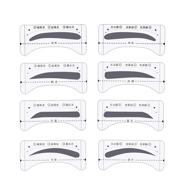8pair Professional Eyebrow Stencils Template Stickers DIY Eyebrow Drawing Card Eyes Brow Stencil Set Women Beauty Makeup Tools 4
