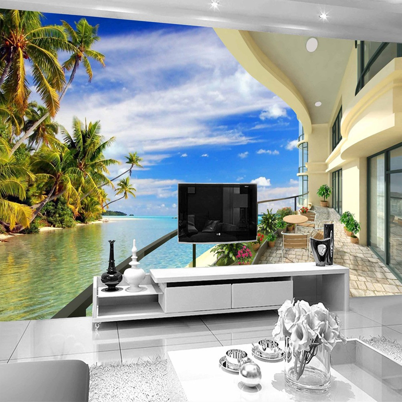 Custom Photo Wall Paper 3D Beach Villa Expand Space Wall Painting Living Room Sofa TV Background Wallpaper Home Decor Mural 3D private villa living room chair retail