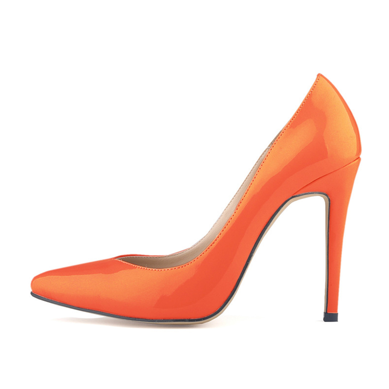 women shoes patent pu high heels pointed corset style work women pumps court shoes Orange