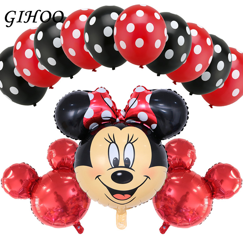 Gihoo 13pcs Mickey Minnie Mouse Head Helium Foil Balloons Dot Latex Globos Baby Shower Birthday Party Decor Supplies Kids Toys