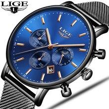hot deal buy lige womens watches top brand luxury waterproof quartz clock ultra thin wrist watch high quality mesh belt momen watch reloj muj