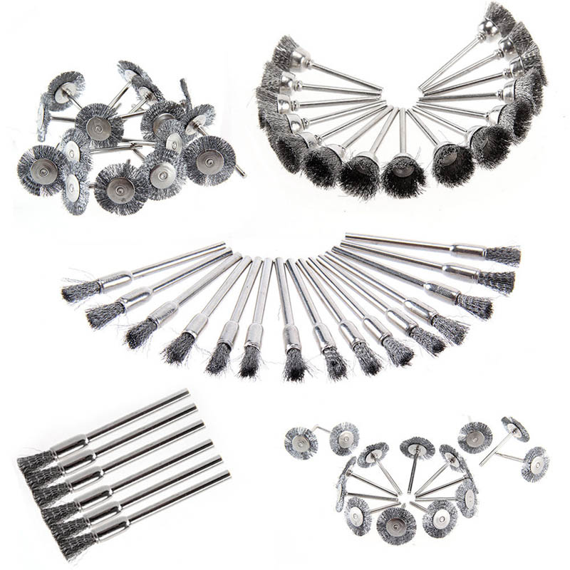 45 Pcs Stainless Steel Wire Cup Mix Brush Set Fits Dremel Rotary Tool Accessories Sets --M25 45pcs mini rotary stainless steel wire wheel wire brush small wire brushes set accessories for dremel mini drill rotary tools