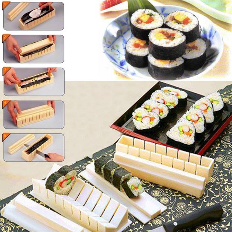 High Quality 11Pcs/set DIY Sushi Maker Rice Mold Kitchen Sushi Making Tool Set sushi mold,cooking tools,Set for sushi roll