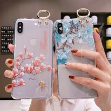Transaprent Case with Holder for iPhone 8 plus 7 plus 7 8 6 6s plus Flower Case for iPhone XR XS X XS MAX Soft TPU Funda Cover цена и фото