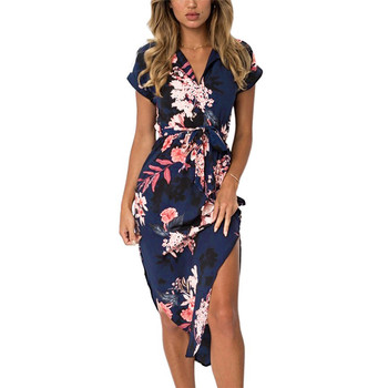 Floral Print Dress 2018 Boho Summer Women Beach Dresses Irregular Hem Tunic Bandage Dress Short Sleeve Elegant Midi Party Dress Платье