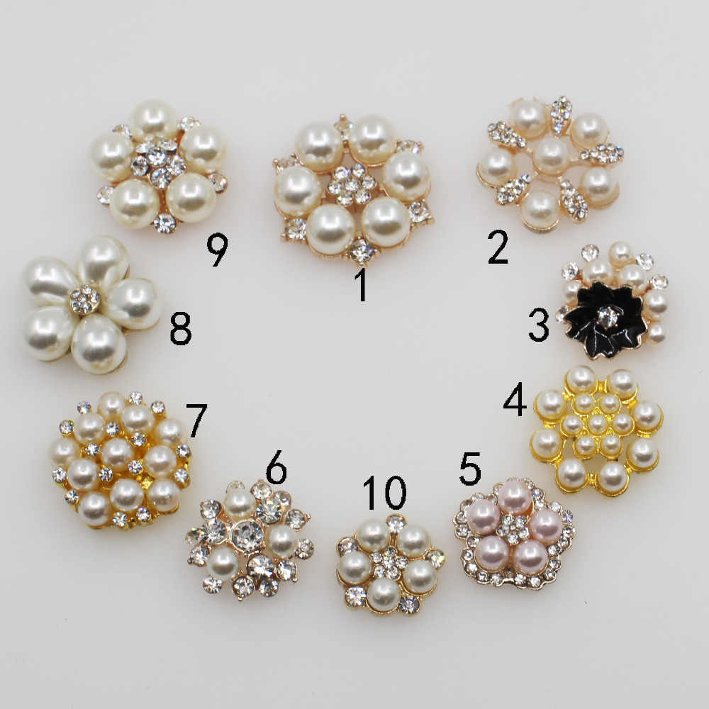 Fashion 10pc mixed size rhinestone pearl buttons Wedding Decoration DIY Flatback gold clothing scrapbooking crafts Accessories