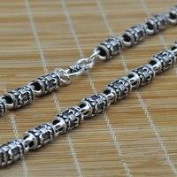 Tajski srebrny długi naszyjnik mężczyzn biżuteria 100% Czystego Srebra naszyjnik 925 Niezawodnego srebra mężczyzna naszyjnik N03