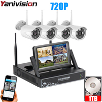 7 Inch Displayer 4CH 720P Wireless CCTV System Wireless NVR IP Camera IR CUT Bullet Home Security System CCTV Kit Yanivision