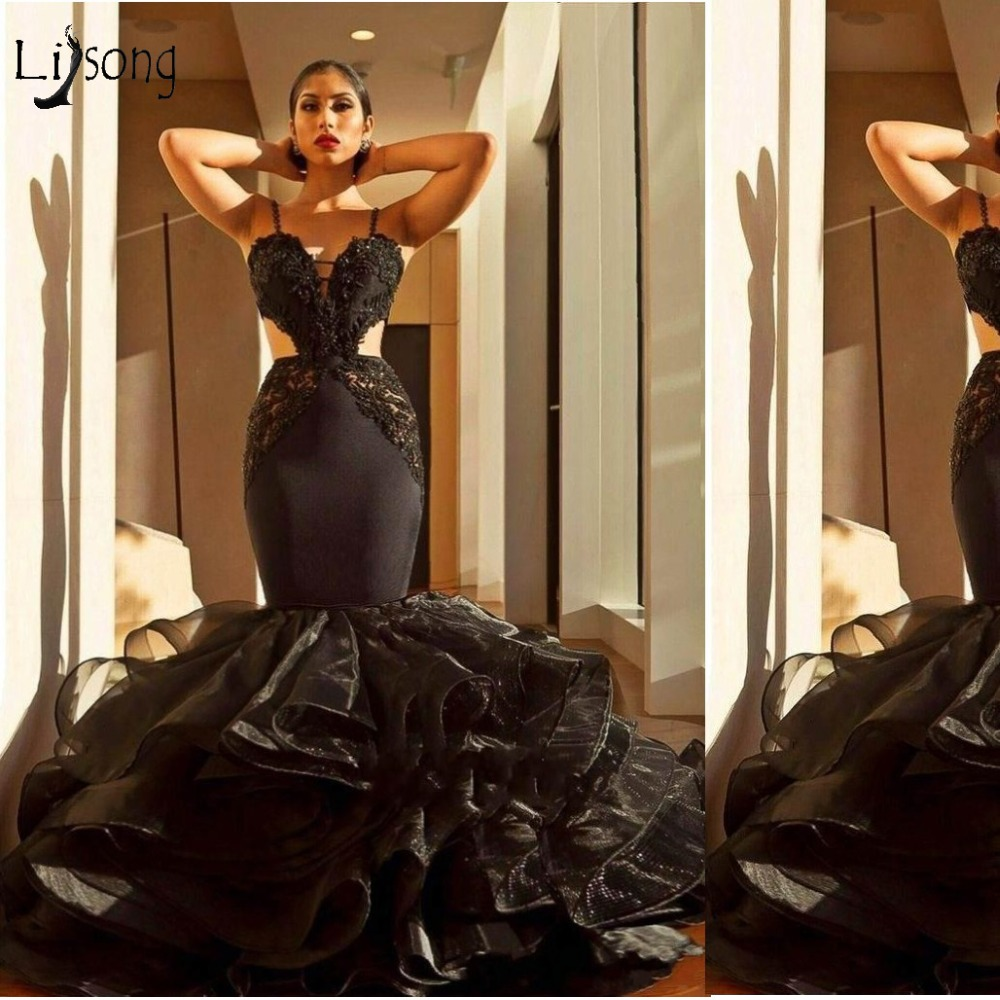 Sexy Black Lace Mermaid   Prom     Dresses   Backless Ruffles Long   Prom   Gowns 2018 Cut-Out Formal Party   Dress   Robe De Soiree Longue