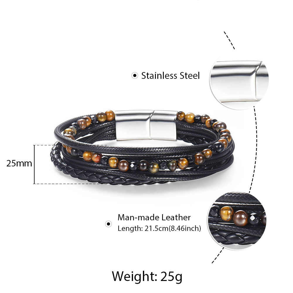 Mens Handmade Leather Beads Bracelets Natural Stone Multi Layers Bracelet Stainless Steel Magnetic Buckle Woman Jewelry DLBM30