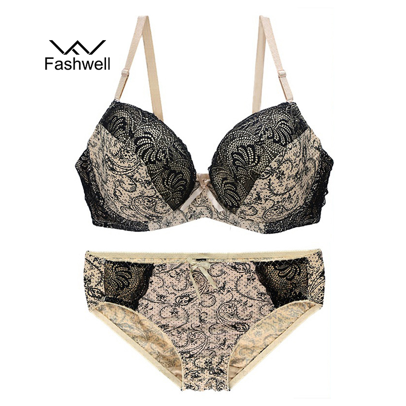 Fashwell Sexy Plus Size Seamless Women   Bra     Set   Lace Printing Push Up   Bra     Brief     Set   Embroidery Floral Women Underwear Panty   Sets