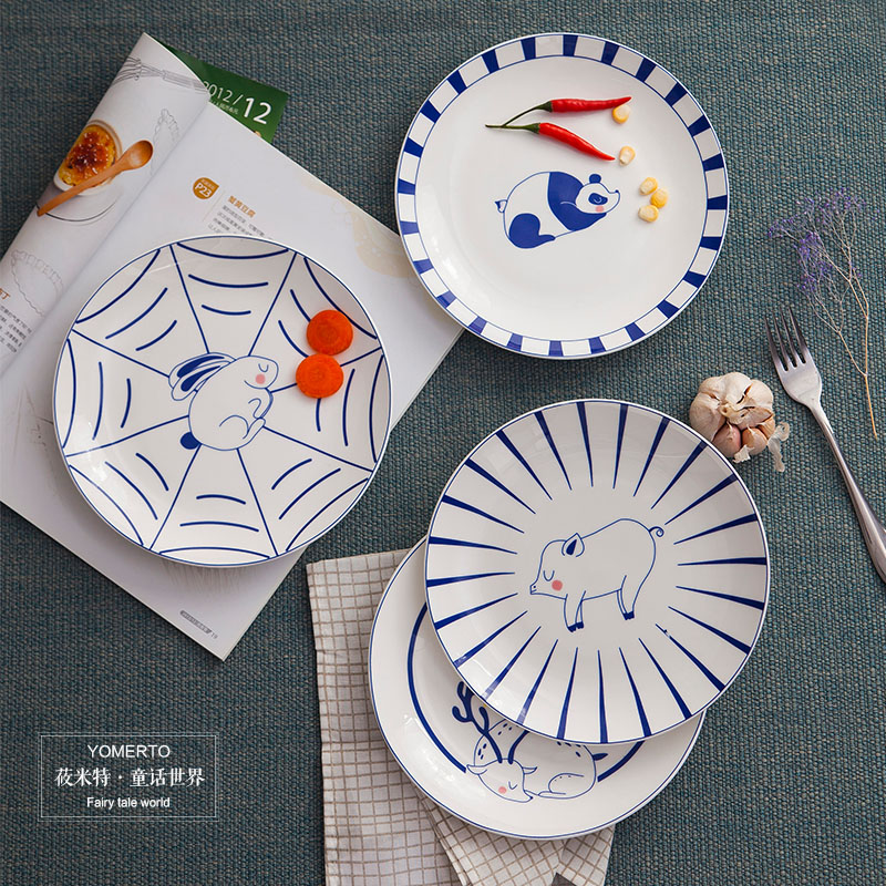 Retro creative home restaurant dishes Western-style food dish round blue and white tableware plate cold noodle noodles Gong Gong