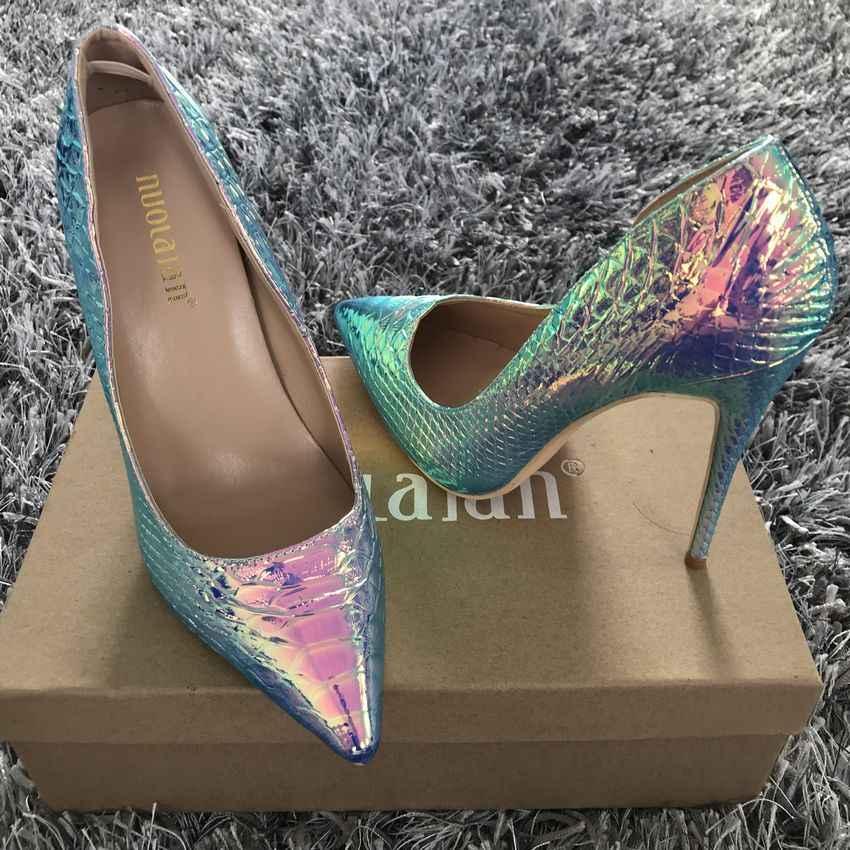 Kobiety buty Stiletto 12 cm/10 cm/8 cm wysokie obcasy kobiety pompy wąż drukowanie skórzane szpiczasty nosek panie wesele kobieta buty