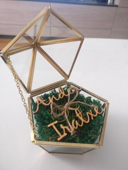 Aanpassen Naam Bruiloft Glas Ring Box Glas Ring Kussen Glazen Sieraden Doos Pentagon Geometrische Koperen Ring Houders