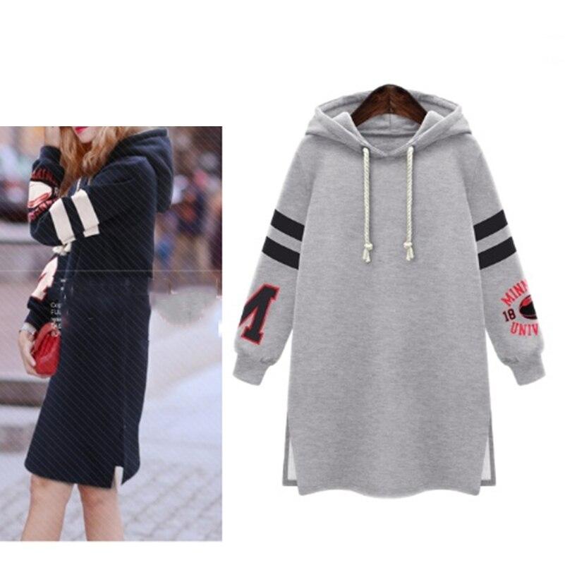 Femmes Longues Sweat Shirts Sportwear Plus La Taille Sportives Lâche Surdimensionné Pulls Harajuku Hoodies Robe Survêtement Femelle