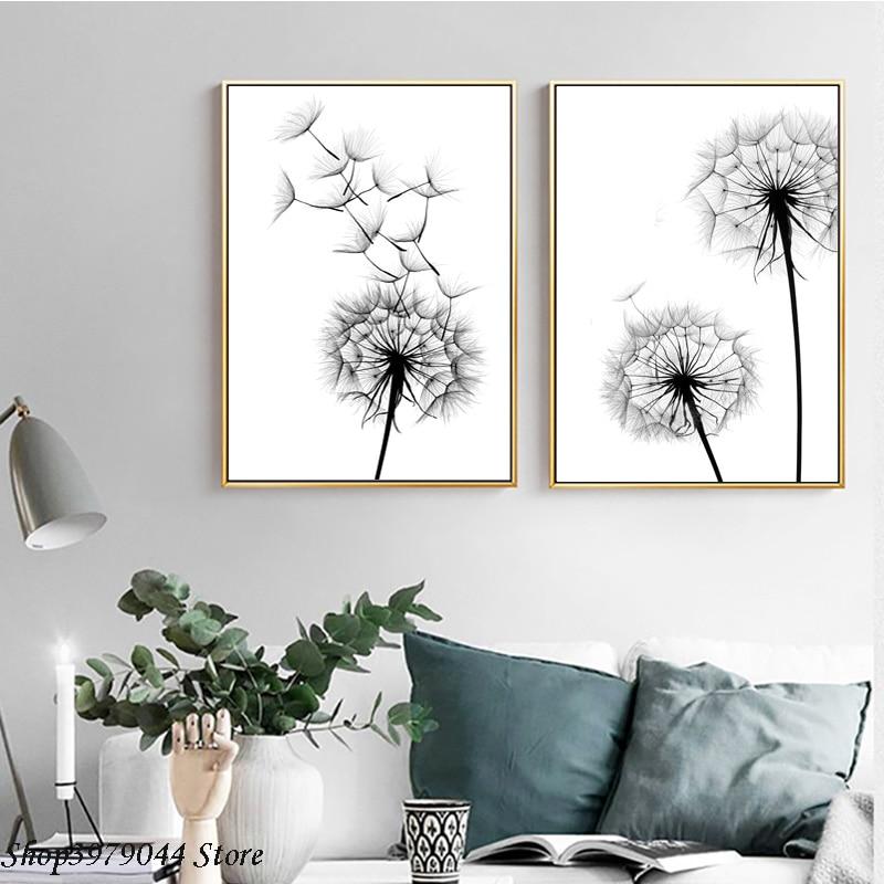 Dandelion Wall Art Dandelion Decor Black White Bedroom: Nordic Poster Black And White Painting Dandelion Wall Art