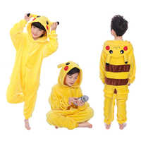 Children Pikachu Pajamas Boy Girl Cartoon Animal Cosplay Pyjama Onesie 4 6 8 10 12 Year Kids Fleece Kigurumi Sleepwear Hoodie