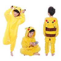 Children Pikachu Pajamas Boy Girl Cartoon Animal Cosplay Pyjama Onesie 4 6 8 10 12 Year Kids Fleece Kigurumi Sleepwear Hoodie