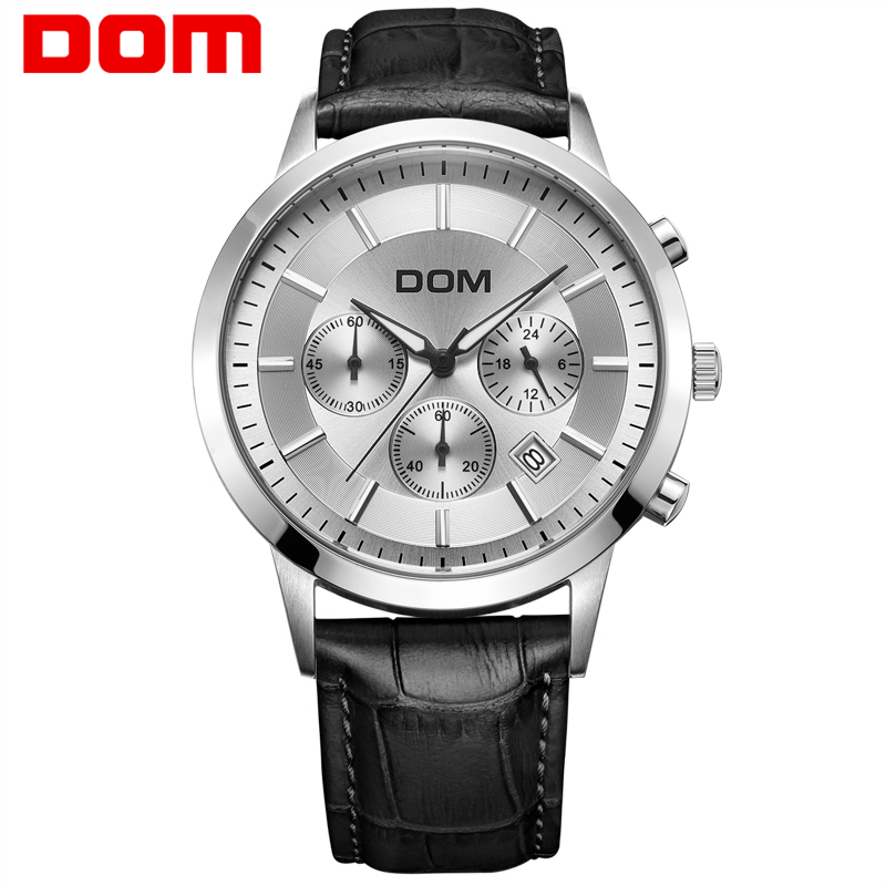 Dom men s watch large dial multifunctional sports waterproof genuine leather strap men s watches MS