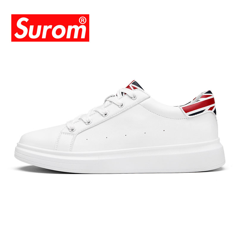 SUROM 2018 Hot Sale Mens Sneakers Skateboarding Shoes Lace Black White Color Male Leisure Cheap Sport Outdoor Walking Shoes