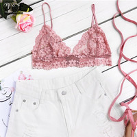 Dotfashion Lace Crop Top Bralette Women Pink Hollow Out Triangle Cute Floral Summer Top Fashion Sexy Vintage Beach Camisole