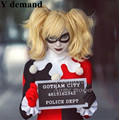 Batman Harley Quinn Cosplay Wigs Short Curly Golden Blonde Synthetic Hair Ponytails Women Anime Party Wig Free Shipping