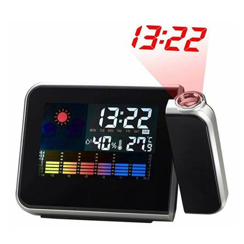 Projector Function LCD Alarm Clock Color Display LED Backlight Attention Projection Digital Weather Snooze Alarm Clocks #AE