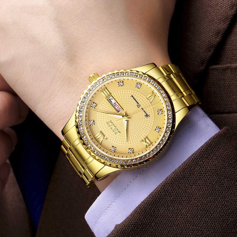 BOSCK Высокое качество для мужчин s часы лучший бренд класса люкс для мужчин кварцевые часы Полный алмаз мужской часы Авто Дата Неделя водо...