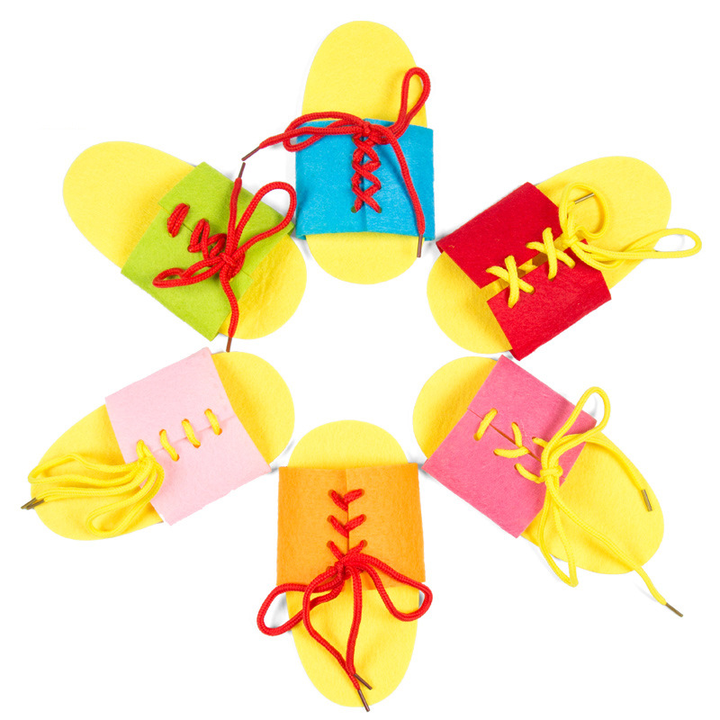 1 Random Delivery DIY Non-woven Lace-up Slippers Manual Learning Materials Parent-child Teaching Aids Kindergarten Toy Kit