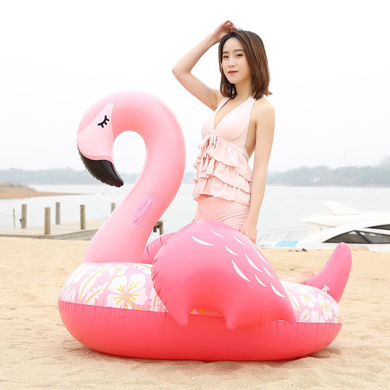 2018 Newest Printing flower Pink Inflatable Flamingo Swimming Float Tube Raft Adult Kids Water Party Inflatable Fun Toys Piscina