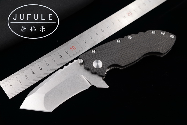 JUFULE Made SOLO ball Bearing Carbon fiber titanium handle D2 blade folding camping hunt outdoor pocket EDC tool kitchen knife jufule doc folding d2 blade titanium g10 bearing flipper tactical kitchen knife outdoor survival camping pocket hunt edc tool