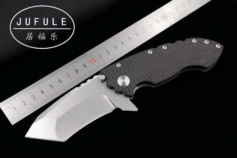 JUFULE Made SOLO ball Bearing Carbon fiber titanium handle D2 blade folding camping hunt outdoor pocket EDC tool kitchen knife