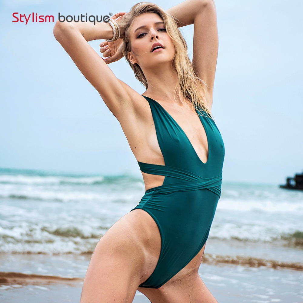 2018 New Seamless High Cut Leg Baddräkt Kvinnor Multi Way Tie Bandage One Piece Baddräkt Sexig Backless Bodysuit Female Monokini