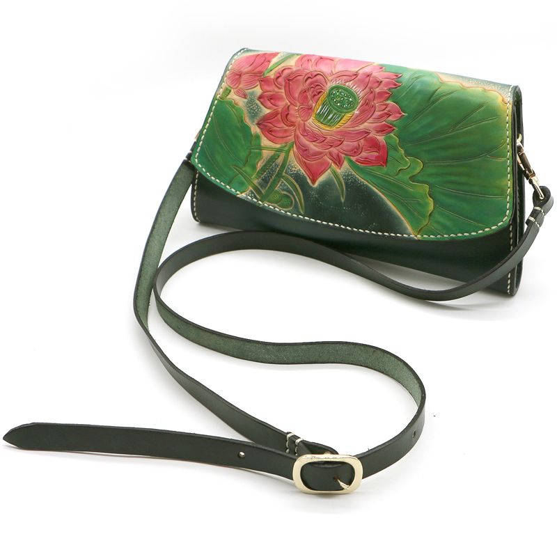 Hand Made Genuine Leather Handbag Clutch Women Lotus Handbags Messenger Bags Shoulder Lady Vegetable Tanned Party Bag In From Luggage