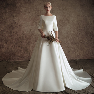Image 1 - New A line Satin Modest Wedding Dresses With 3/4 Sleeves O Neck V Back Vintage Modest Bridal Gowns Wth Detachable Train